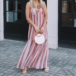 BB Dakota sailor delight stripe chiffon maxi dress